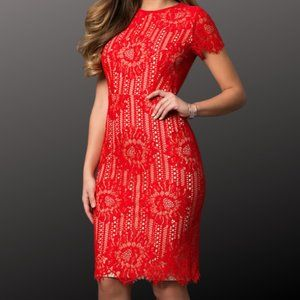 3/$25 Sexy Red High-Neck Lace Party Dress